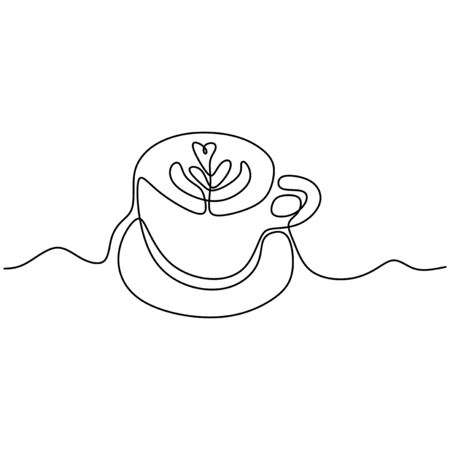 A cup of coffee on white background. One continuous line drawing Vector illustration minimalist design.