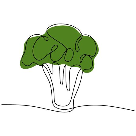 Continuous one line drawing broccoli. Vegetables for vegan food. Vector illustration Illustration