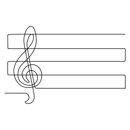 A treble clef one continuous line drawing music symbol. Vector illustration minimalism design