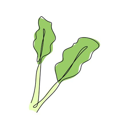 Continuous one line drawing. Vegetables for vegan food hand drawn sketch. Vector illustration