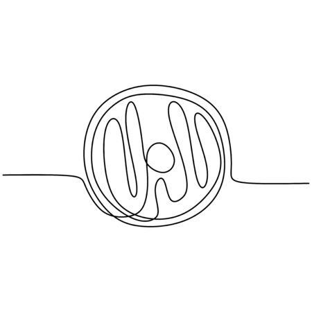 Continuous line drawing of Donut food minimalism design vector illustration
