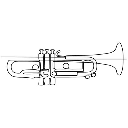 one continuous line drawing trumpet music instrument vector illustration minimalist design single line art  イラスト・ベクター素材