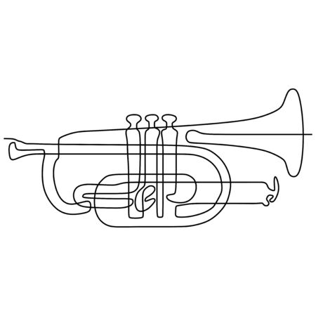 continuous line drawing Cornet music instrument vector illustration minimalist design Vectores