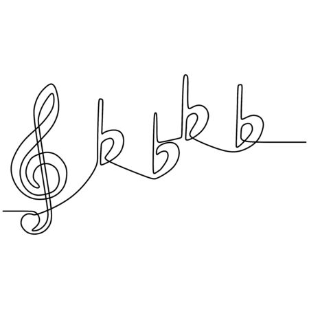 continuous line drawing A treble clef vector one lineart simplicity illustration minimalist design