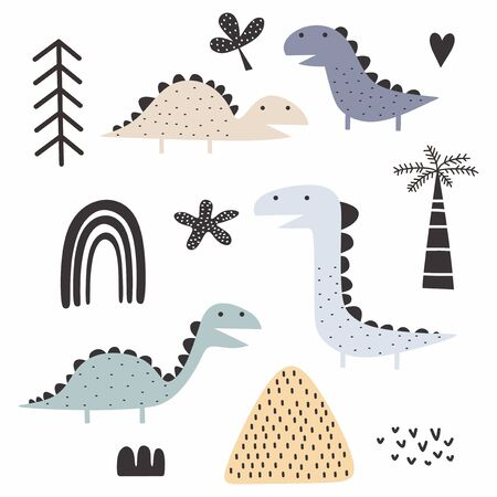 dinosaur scandinavian drawing set design vector illustration pack collections. Cute characters.
