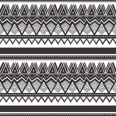 Modello vintage senza cuciture con motivi etnici e tribali. Design colorato Design in stile Maori. Illustrazione vettoriale.