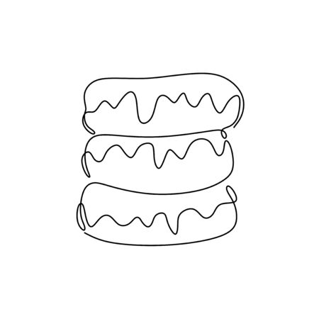 Three donuts is tasty and delicious. Continuous line drawing of fast food minimalism design vector illustration 向量圖像
