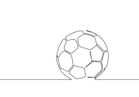 One line drawing of football ball vector illustration minimalist design