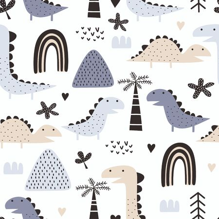 Dino seamless pattern with scandinavian style and pastel colors. Vector illustration trendy adventure theme for kids and baby fashion textile print.