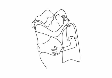 continuous one line pregnant couple in love expecting a child hand-drawn picture silhouette. Single hand drawn vector illustration.