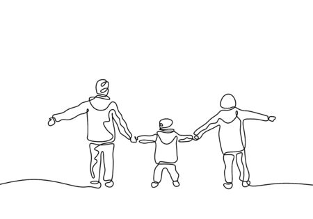 Continuous one line drawing of three kids holding hands and playing. Childhood act of kindness theme. Children concept of brother and sister member of family. Çizim