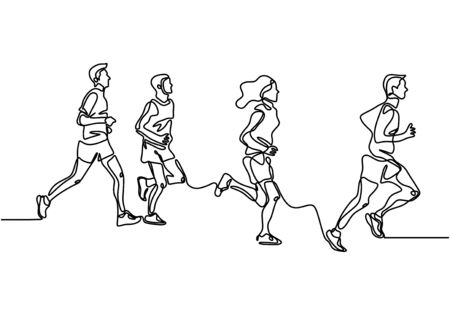 people running one line drawing vector illustration. Group of man and women doing exercise for healthy life. Vector illustration minimalism design simplicity style. Иллюстрация