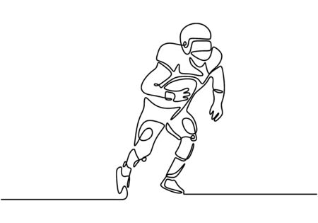 one line american soccer or football game. Vector of man with helmet and ball.