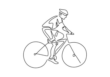 cycling line drawing. continuous one line drawings of pictures athlete, cycling, fitness, health concept.