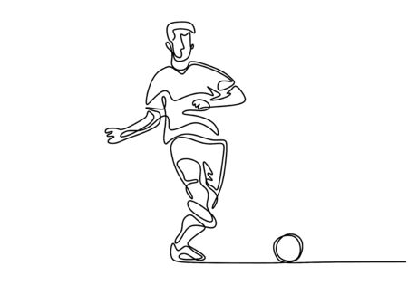 Continuous one line drawing of football player kick a ball during the game sport. Vector minimalism singe hand drawn design isolated on white background.