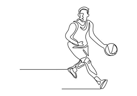 Basketball continuous one line drawing vector illustration. Athlete player dribbling a ball on the game play. Banco de Imagens - 131908405