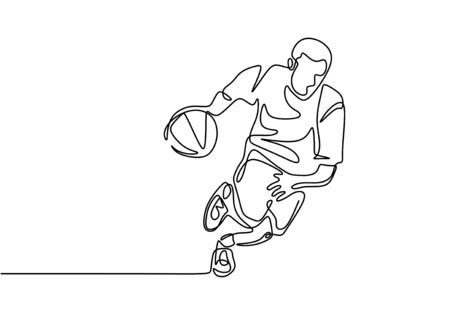 Basketball continuous one line drawing vector illustration. Athlete player dribbling a ball on the game play. Banco de Imagens - 131908410