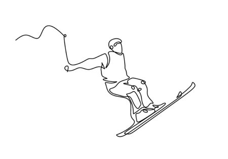 Continuous line ski racer drawings one hand drawn minimalism vector illustration simplicity design.