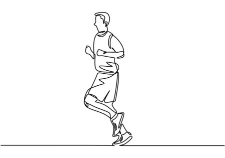 One line sport of running person. Man doing exercise activity drawing continuous design.