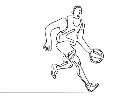 Basketball player one line continuous drawing minimalism design. Vector man in sport illustration with editable stroke.