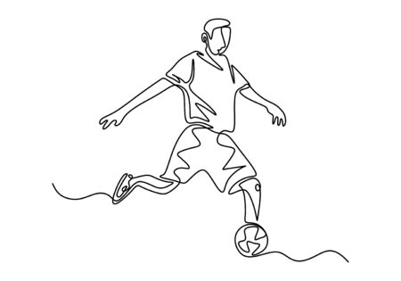 soccer player drawing continuous one line hand drawn. Football person kick a ball during the match game.