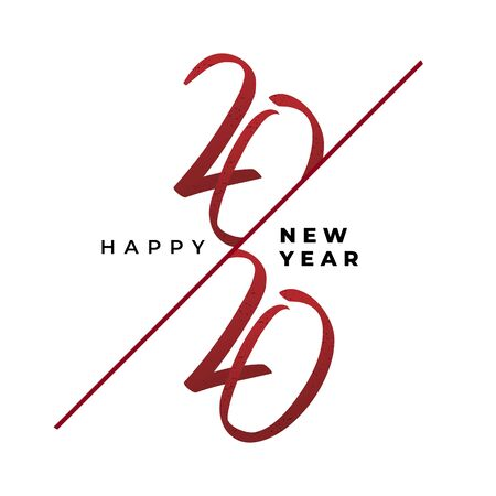 Modern hand drawn lettering 2020 new year greeting banner design. Vector elegant red text on white background. Çizim