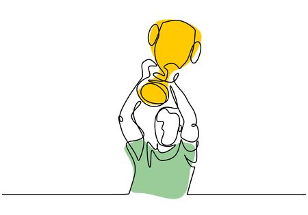 Continuous line drawing of winner holding and raising champion trophy. Vector illustration single hand drawn style. Ilustração