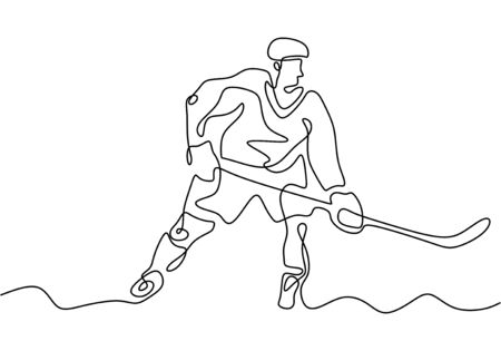 Ice hockey player one continuous line drawing vector illustration.