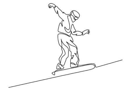 Ski racer with board continuous line drawing vector illustration man in sport activity. Winter theme simplicity style.