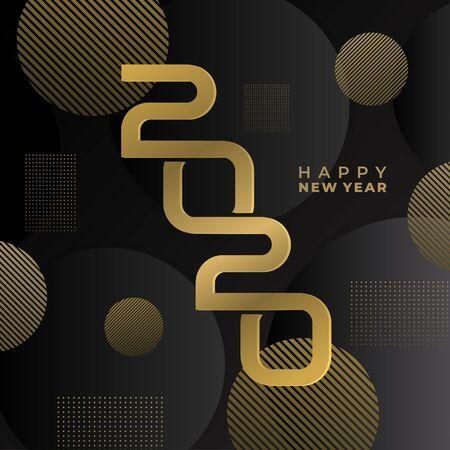 Luxus Frohes neues Jahr 2020. Modernes geometrisches Dekorationsgold und schwarzes Farbthema. Elegantes modernes minimalistisches Design mit kreativer Typografie. Vektorillustration ENV 10. Vektorgrafik