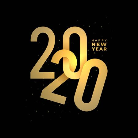 Happy new 2020 year banner. Elegant gold text with light. Minimalistic 3d template on black background Ilustrace