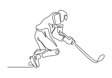 Continuous line drawing of ice hockey player. One hand drawn sketch sport theme. Çizim