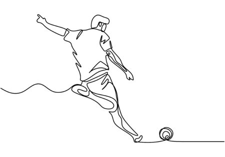 One line drawing of football player kick a ball. Man doing sport game on the match championship.