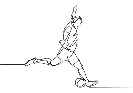 One line drawing of man kick a ball concept of soccer football player vector minimalism design Stock Illustratie