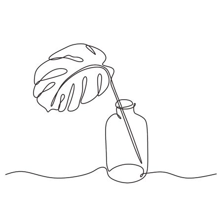 Continuous one line drawing of monstera leaf on glass bottle. Tropical Philodendron minimalism hand drawn vector illustration. Archivio Fotografico - 132319063