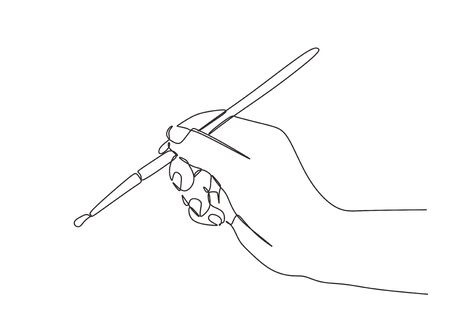 Hand painting with brushes continuous line drawing minimalist. Vector one hand drawn sketch of brush with finger holding to draw and inking.