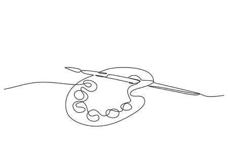 Art equipment of brush and paint one line drawing vector illustration isolated on white background