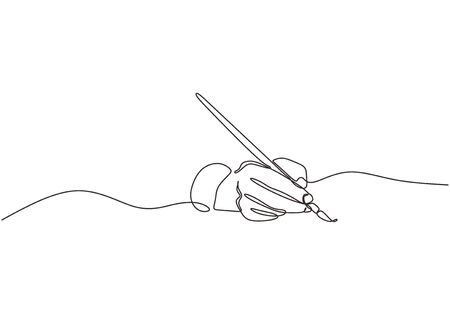 Single line drawing of hand golding art painting brush to make an artwork. Concept of artist painter minimalism design vector. Illustration