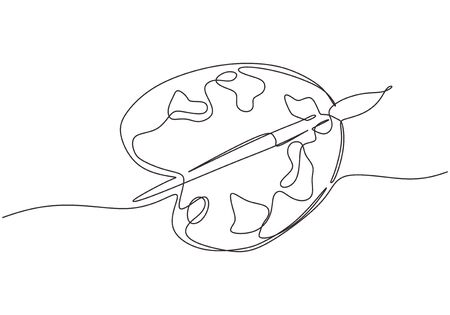 Continuous one line drawing of art palette with ink brush isolated on white background. Vector hand drawn single sketch design.