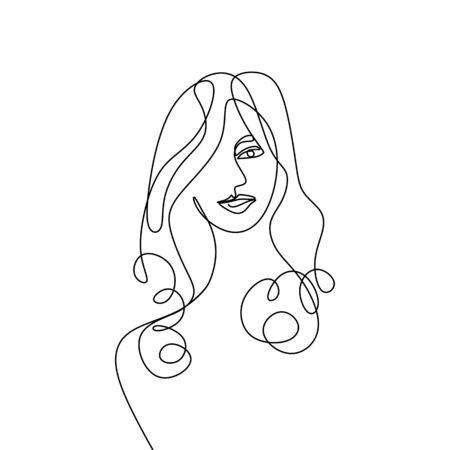 Portrait de femme de mode en ligne continue dans un style moderne simple minimalisme. Illustration vectorielle graphique dessinés à la main. Vecteurs