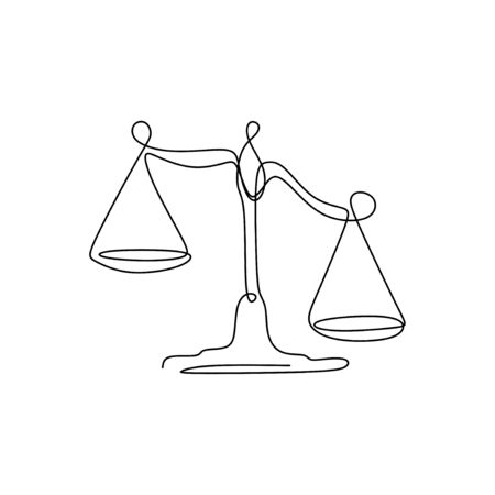 Weight balance symbol. Libra or law identity one line drawing style vector illustration