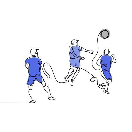 disegno a linea continua di giocatori di calcio in esecuzione. Partita di calcio calciatori calci. vettore