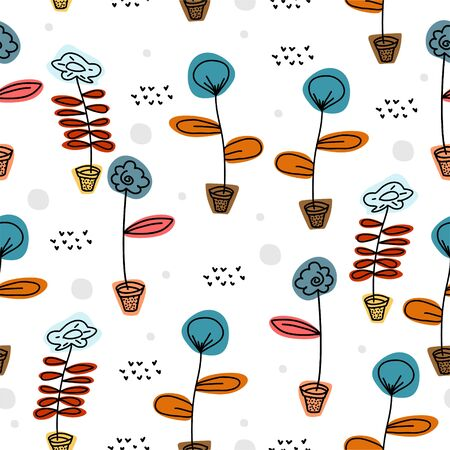 Cute flower seamless pattern with scandinavian art drawing background. Trendy elements for baby and children apparel fashion textile print vector illustration.