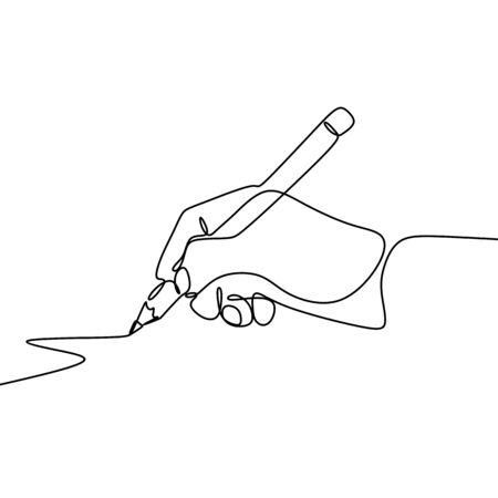 Dessin continu d'une ligne de la main paume des doigts gestes stylo, crayon.