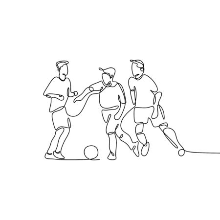 continuous line drawing of Running Soccer Football Players. Footballers Kicking Football Match game. vector Illusztráció