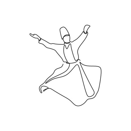 whirling dervish vector drawing. Vector illustration drawn with one line.