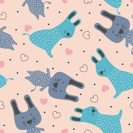 Cute rabbits seamless pattern with pastel colors scandinavian style for children and baby fashion textile print childish hand drawn background.
