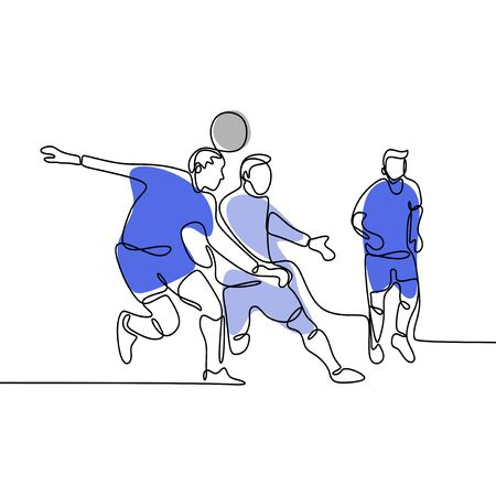 continuous line drawing of Running Soccer Football Players. Footballers Kicking Football Match game.