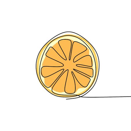 Draw a continuous line of orange fruit and color