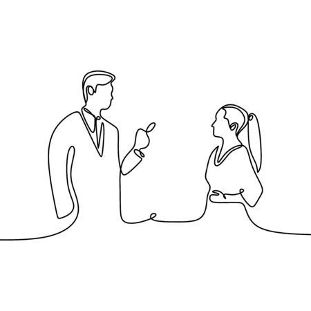 Dibujo de una sola línea continua de dos jóvenes fundadores de startups, hombres y mujeres, que tienen una charla de negocios sobre un refresco. Ilustración de diseño de dibujo de una línea de concepto de chat de negocios Ilustración de vector